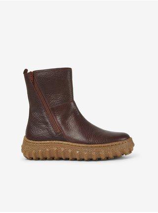 Tmavohnedé dámske členkové kožené topánky Camper Rancho