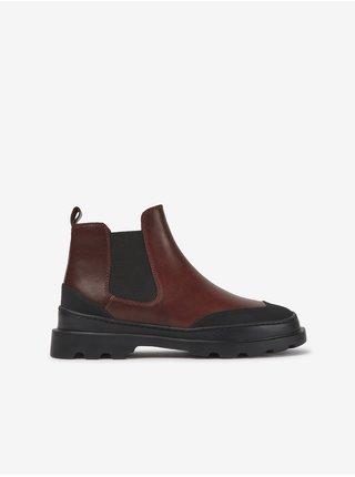 Čierno-hnedé dámske členkové kožené topánky Camper Cien