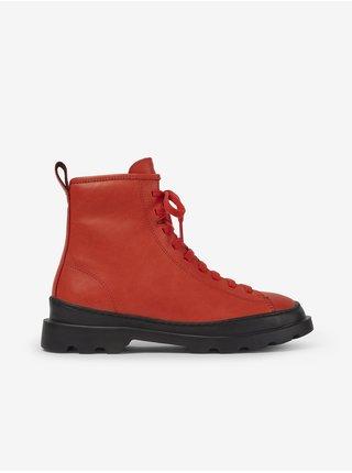Červené dámske členkové kožené topánky Camper Noray