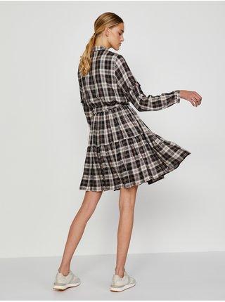 Hnedé dámske kockované košeľové šaty TOP SECRET