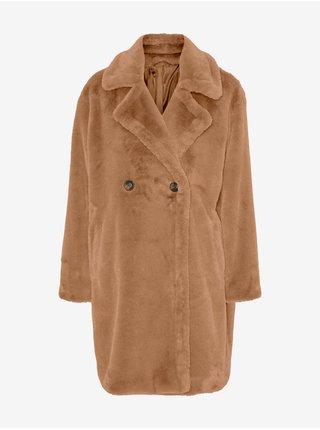 Hnedý zimný kabát z umelého kožúšku VERO MODA Suilyon