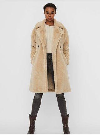 Béžový zimní kabát z umělého kožíšku VERO MODA Suilyon