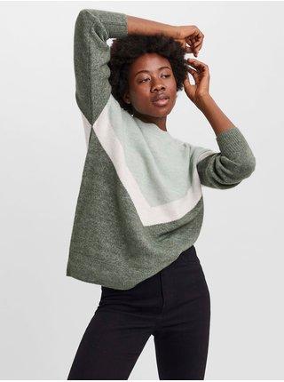 Zelený sveter VERO MODA Gingoblock