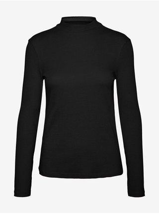 Černé dámské žebrované tričko se stojáčkem VERO MODA Helsinki