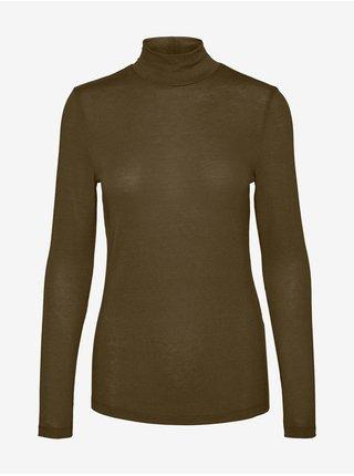 Kaki dámske predĺžené tričko so stojačikom VERO MODA Carla