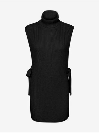Černá dámská žebrovaná vesta s rolákem VERO MODA Myrna