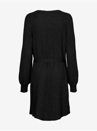 Čierne dámske svetrové zavinovacie šaty s balonovými rukávmi VERO MODA CURVE Briahermosa