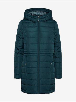 Petrolejový dámský prošívaný kabát s kapucí VERO MODA Simone