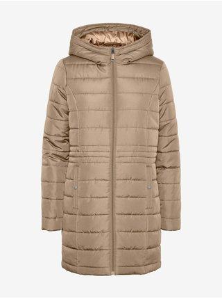 Béžový dámsky prešívaný kabát s kapucou VERO MODA Simone