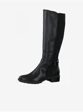 Čierne dámske vysoké kožené čižmy Tamaris
