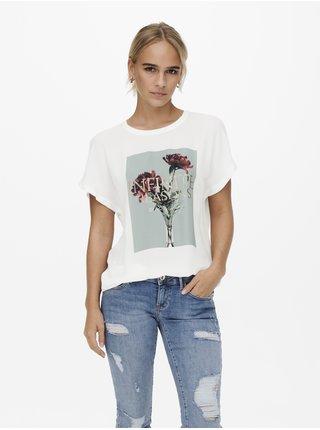 Bílé dámské tričko s potiskem ONLY Falton