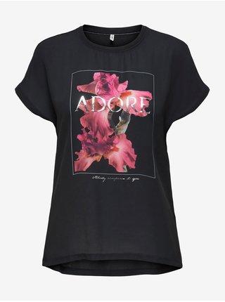 Černé dámské tričko s potiskem ONLY Falton