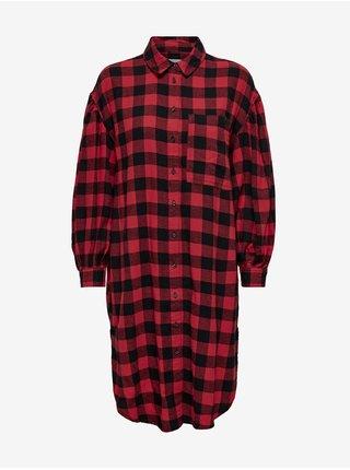 Černo-červená dámská dlouhá kostkovaná košile ONLY Cherri