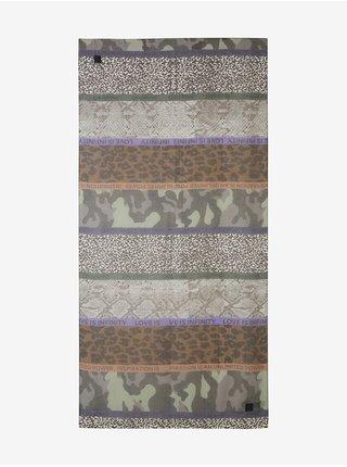 Šedý dámský vzorovaný šátek Desigual Patch Mensajes Rectangles