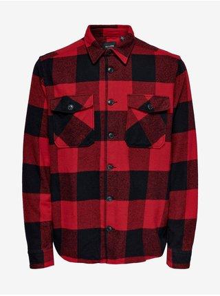 Černo-červená pánská kostkovaná flanelová košile ONLY & SONS Milo