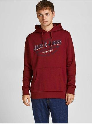 Červená mikina s kapucí Jack & Jones Logo