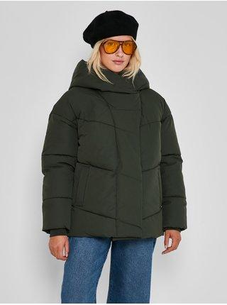 Tmavě zelená dámská prošívaná zimní bunda s kapucí Noisy May Tally