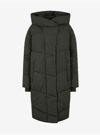 Khaki dámský dlouhý prošívaný oversize kabát s kapucí Noisy May Tally