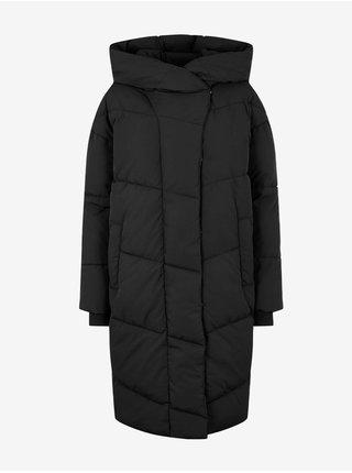 Černý dámský dlouhý prošívaný oversize kabát s kapucí Noisy May Tally