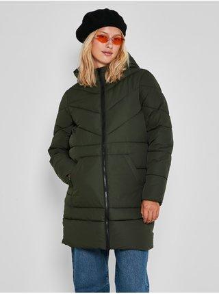 Kaki dámsky prešívaný zimný kabát s kapucou Noisy May Dalcon
