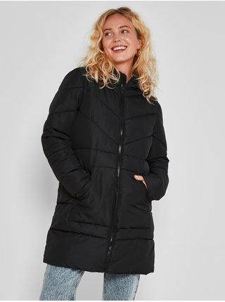 Černý dámský prošívaný zimní kabát s kapucí Noisy May Dalcon