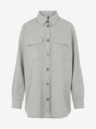 Světle šedá dámská oversize košilová bunda Pieces Chilli