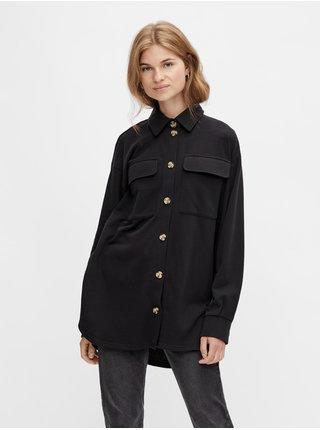 Černá dámská oversize košilová bunda Pieces Chilli