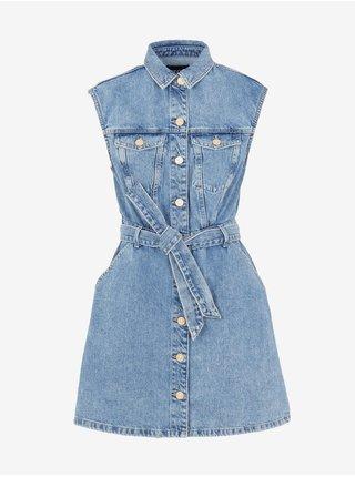 Modré dámské džínové košilové šaty Pieces Namir