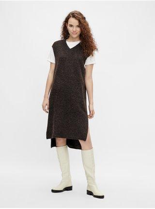 Čierne dámske svetrové šaty Pieces Elin