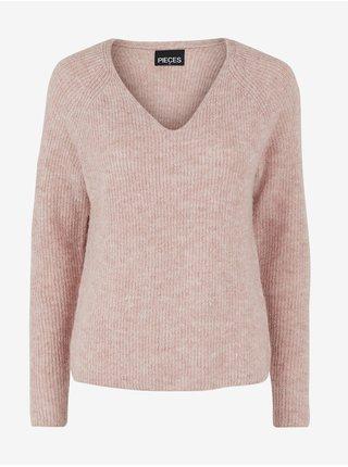 Svetloružový dámsky žíhaný rebrovaný sveter Pieces Ellen