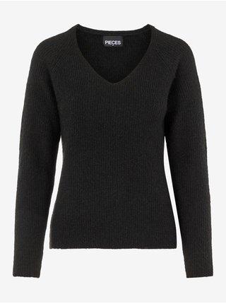 Černý dámský žebrovaný svetr Pieces Ellen