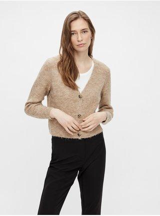 Béžový dámský žebrovaný svetr na knoflíky Pieces Ellen