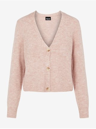 Svetloružový dámsky rebrovaný sveter na gombíky Pieces Ellen