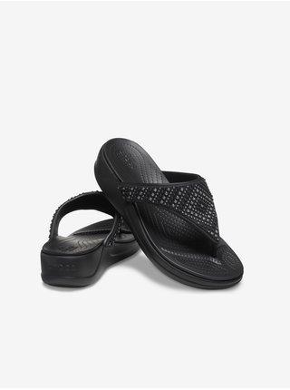Crocs černé žabky na klínku Monterey Shimmer Wedge Black