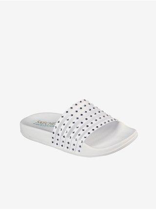 Skechers púdrové šľapky Pop Ups White Mesh