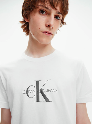 Bílé pánské tričko Calvin Klein Archival Monogram Flock Tee