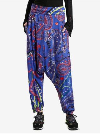 Modré dámske vzorované nohavice Desigual Zaragoza
