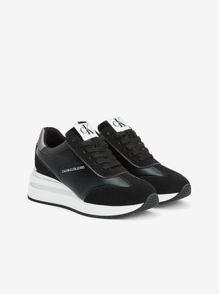 Stříbrno-černé dámské semišové boty Calvin Klein Wedge Sneaker Laceup