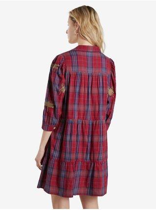 Vínové dámské košilové kostkované šaty Desigual Vest Dora Maar