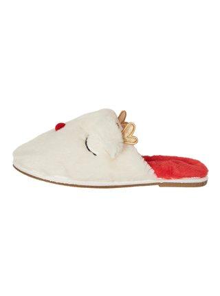 Krémové vianočné papuče VERO MODA Thea