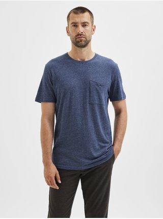 Tmavě modré pánské žíhané tričko s kapsou Selected Homme Decker