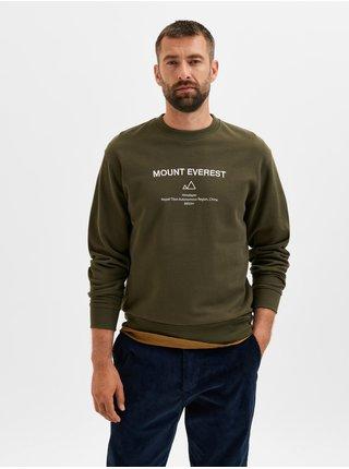 Khaki pánská mikina s potiskem Selected Homme Albert