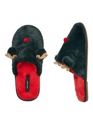 Tmavozelené vianočné papuče VERO MODA Thea