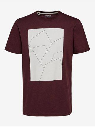 Vínové pánské tričko s potiskem Selected Homme Marcus