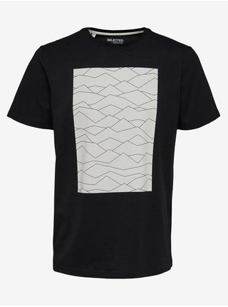 Černé pánské tričko s potiskem Selected Homme Marcus