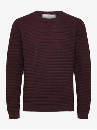 Vínový pánský žebrovaný svetr Selected Homme Masei