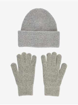Sada šedé čepice a rukavic Pieces Erina
