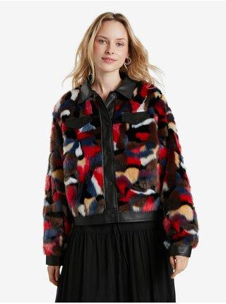 Červeno-čierna dámska bunda s kožúškom Desigual Chaq Luisiana