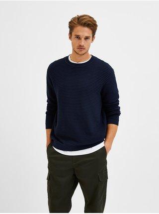 Tmavě modrý pánský žebrovaný svetr Selected Homme Masei