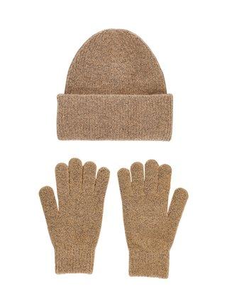 Sada hnedej čiapky a rukavíc Pieces Erina